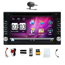Double din Car DVD Player Bluetooth in dash 6.2inch car radio With 8GB Map GPS Navigation audio stereo FM AM RDS USB camera auto