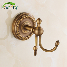 Wall Door Mounted Robe Hook Antique Brass Coat and Hat Hanger Clothes Hook(China)