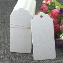 Wholesale 9.5x4.5cm White Color Price Tags stamping with rose flower design Gift tags DIY Retro Kraft Paper cards Garment Tags(China)