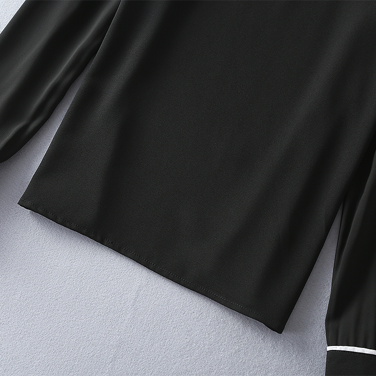 Two Pieces Set New Skirt Suits 17 Autumn Winter Women Turn-down Collar Black Blouses+Mid-Calf Length Pencil Skirts Clothing 9