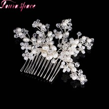 Loura Shace Boho Bride Headdress Pearls Crystal Beads Hair Comb Tiaras Silver Combs Pure Handmade Beaded Bridal Hair Accessories