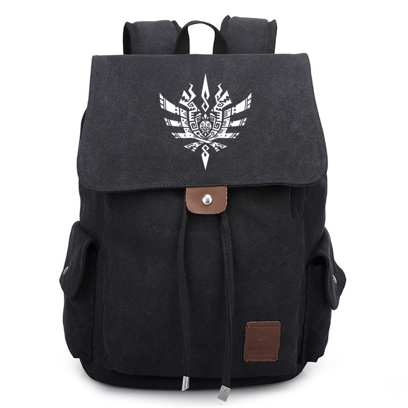 2017 New Monster Hunter Canvas Backpack Anime Game School Bag Bookbag Satchel Rucksack Boy Girl Gift<br>