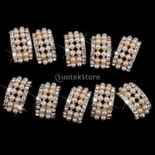 10 Assorted Gold Crystal Rhinestone Button Brooch Bouquet Pearl Crystal(China)