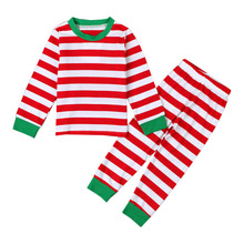 Chlidren Striped Christmas Kids Clothes Sets Cotton Soft Boys Girls Xmas Clothing Casual Home Wears Fashion Kids 2pcs Outfits(China)