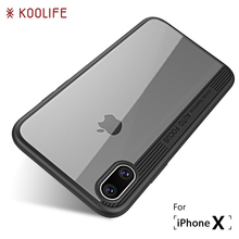 For iPhone X Case Luxury TPU+Acrylic Transparent Back Cover for Apple iPhone 10 Case KOOLIFE Brand Phone Case for iPhone10 Cover