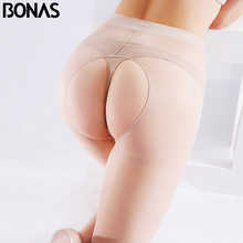 Buy BONAS Women Sexy Open Crotch Tights Lady Summer Breathable Delight Pantyhose High Elastic Slim Nylons Stockings Stovepipe Female