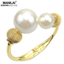 MANILAI Charm Accessories Imitation Pearl Bracelets Manchette Fashion Alloy Cuff Bangle Statement Jewelry Bijoux Women Pulseiras