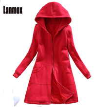 Buy Lanmox New Fashion 2XL Women Coat 2017 Autumn Winter Casual Hooded Long Trench Coat Female Slim Solid Thick Warm Outerwear for $40.08 in AliExpress store