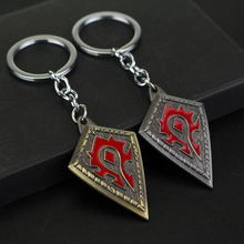 2 Colors New Fashion Online Game WOW Inspired Horde Logo Metal Keychain rings For Men Hot Sale