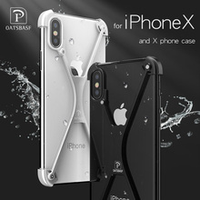 OATSBASF X Shape case For iPhone X Personality Shell for iPhone X Case Metal Bumper case For iPhoneX With Gift Glass Film(China)
