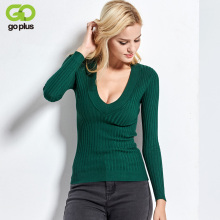 2017 New Spring Deep V Forest Green Pullovers Woman Stretch Knitted Sweater Women Elastic All Match Size Jumper Basic Tops C3554(China)