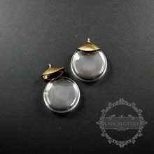 28mm flat round glass dome purfume bottle with tiny hole pendant charm DIY jewelry supplies findings 1800222