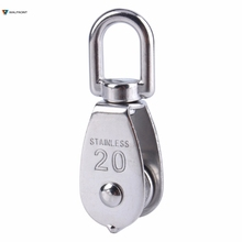 Steel Wire Pulley Stainless Steel M20 Heavy Duty Steel Single Wheel Swivel Lifting Rope Pulley Block For Wire Rope(China)