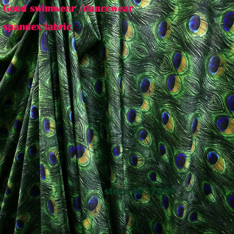 Trustful Digital Print Peacock Green Knit Spandex Fabric Elastic Material Swimsuit Textile 155cm Wide By Yard A Wide Selection Of Colours And Designs Smart Electronics