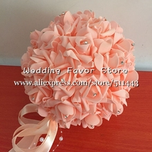 Free EMS Shipping 16pcs 10'' 25cm Wedding Decorative Artificial PE Foam Rose Kissing Balls Hanging Flower Balls With Rhinestone