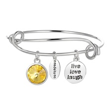 Legenstar 2018 New Live Love Laugh Inspirational Charm Pendant Expandable Adjustable Bracelets Bangle Birthstone Pulseiras(China)