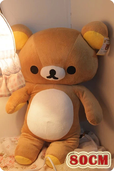 Lovely Stuffed Toys 80cm Rilakkuma Plush Toys Bear Plush Dolls Large Soft Toys for Girls Birthday Gift Valentine Day Christmas<br>