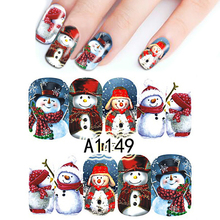 1Sheet Colorful Christmas Cute Snowman Full Wraps Nail Art Stickers Watermark Nail Stickers For Nail Art Decorations BEA1149(China)