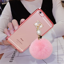 For Samsung S5 S6 S7 edge Plus Note 3 4 5 C5 C7 ON5 ON7 Luxury Cute Pom plating Phone case Plush Pearl Fur Ball Soft Back Cover