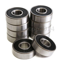 10pcs 608-2RS 608RS 608 2RS ABEC-7 8mm x 22mm x7mm black double rubber sealing cover deep groove ball bearing