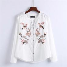 Dioufond Women Shirts Embroidery Bird Flower Blouses White Cotton Tops Female Fashion Embroidered Shirts Autumn Clothing 2017