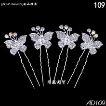 Free Shipping 10pcs Clear Crystal Butterfly Hair Pin Clips Slide Women Wedding Bridal Hair Jewelry Women Accessories Hairpins