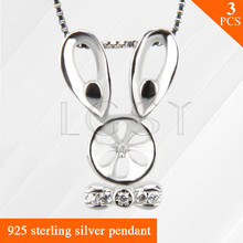 Rabbit with tie design 925 Sterling Silver pearls pendant accessories 3pcs, women necklace jewelry gift
