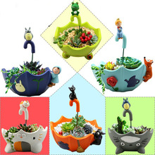 Small Cute Totoro Planters For Succulents Mini Vase Stand Desktop Decorative Potted Bonsai Indoor Home Garden Decor Flowerpot