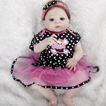 1pc Silicone Reborn Baby Dolls Simulation Birth Baby Doll Tangkou Doll Girl Birthday Present Dress Up Games 57cm Dolls BB Reborn(China)