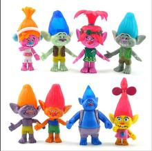New 8PCS\SET Magic wizard Bobby Blanc Su Crick Genuine doll Trolls 11cm original magic wizard toy plastic toy christmas gift