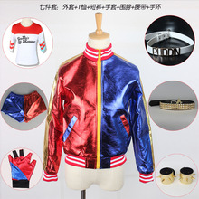 Mcoser NEW Kid's Suicide Squad Harley Quinn cosplay Costume Outfit Full Set halloween children Christmas gift jacket costumes