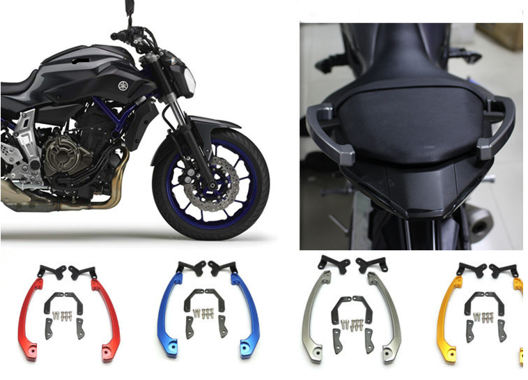 Gray waase Motorcycle Rear Grab Bars Rear Seat Pillion Passenger Grab Rail Handle For Yamaha MT-07 MT07 FZ-07 MT FZ 07 2014 2015 2016 2017