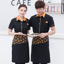 New Short Sleeve Western Restaurant Waiter Uniform Coffee Shop Waiter Shirt with Apron Women Hotel Waitress Uniform Chef Jacket