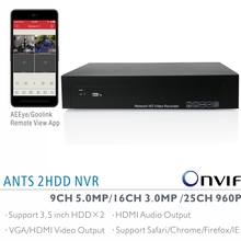 ANTS 9CH 5MP, 16CH 3MP, 25CH 960P Onvif NVR with AEEye and Goolink P2P App live view and playback support HDMI Audio output