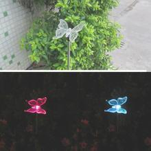 3pcs Solar Power LED Lamp Colorful Outdoor Yard Lawn Garden Decoration Cute Dragonfly Bird Butterfly Shape(China)