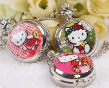 New fashion hello kitty quartz pocket watch necklace pendant women kids dress watches wholesale