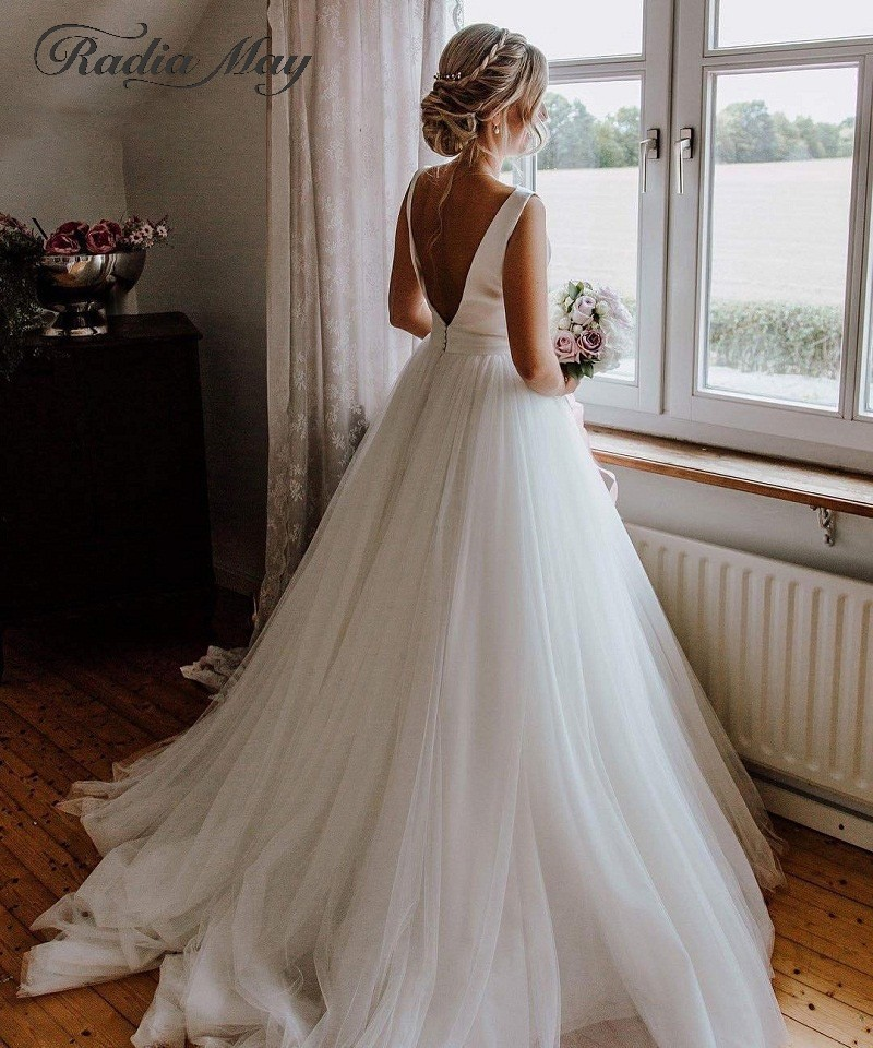 Robe Mariage Sexy Backless White Wedding Dress for Bride Elegant Satin Tulle Wedding Simple Dress 2019 Boho Country Bridal Gowns