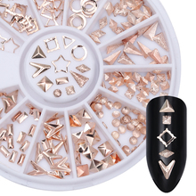 Rose Gold Rivet Nail Studs Rhinestone Circle Star Round Square Triangle Frame Mixed DIY Phone 3D Nail Decoration In Wheel(China)