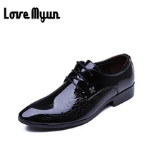 Men leather shoes fashion black wedding shoes Pointed toe dress shoes patent leather business shoe men flats size 38-44 AB-13