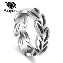 Thailand Silver Jewelry Rings Vintage Plants Leaves Design 925 Silver Ring Women
