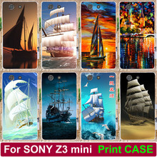 Painted Case For Sony Xperia Z3 compact z3 mini D5803 D5833 Pattern Smooth Sailing Ship Pirate Ship Phone Case Skin Shell Cover