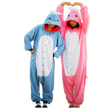 Animal Cosplay Costume Adult Pajamas Seafish Blue Pink Whale Onesies Cartoon Sleepwear Sleepsuit Funny Performance Whale Pajamas