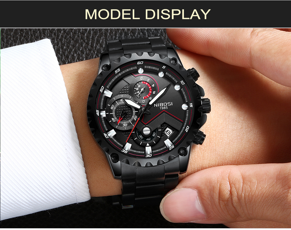 Military Watches Men Quartz Analog Men Watches Stainless Steel Time Date Clock Men Luxury Brand Hot Famous Brand Watches NIBOSI  (15)