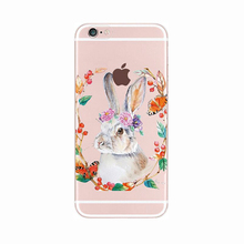2016 Fashion cartoon animals sexy flower glasses rabbit cute bunny thin clear soft tpu case cover For Samsung Galaxy Cell Phone