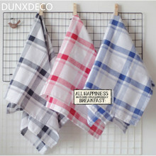 DUNXDECO Table Placemat Cotton Tea Towel Napkin French Blue Red Black Check Home Kitchen Decoration Fabric 3PCS Set