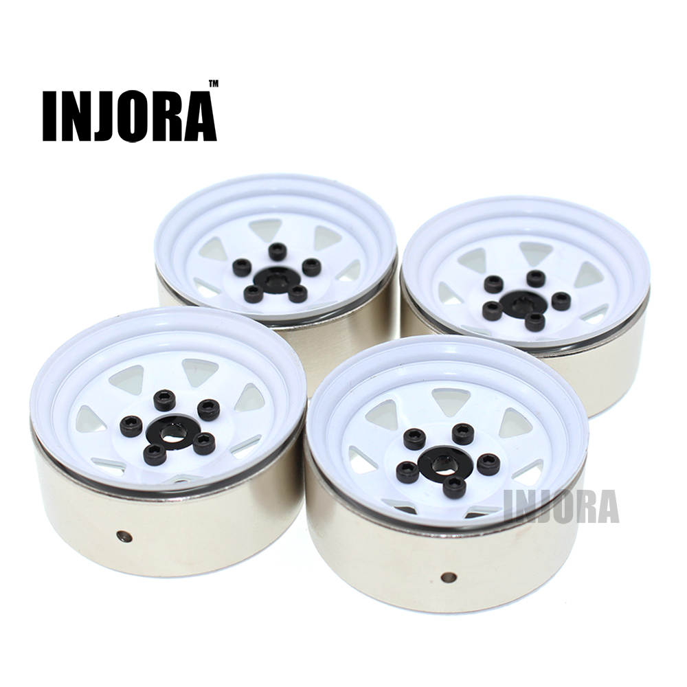 4PCS RC Crawler 1:10 White Metal Wheel Rim 1.9 Inch BEADLOCK for 1/10 Axial SCX10 TAMIYA CC01 RC4WD D90 D110 Traxxas TRX-4 <br>