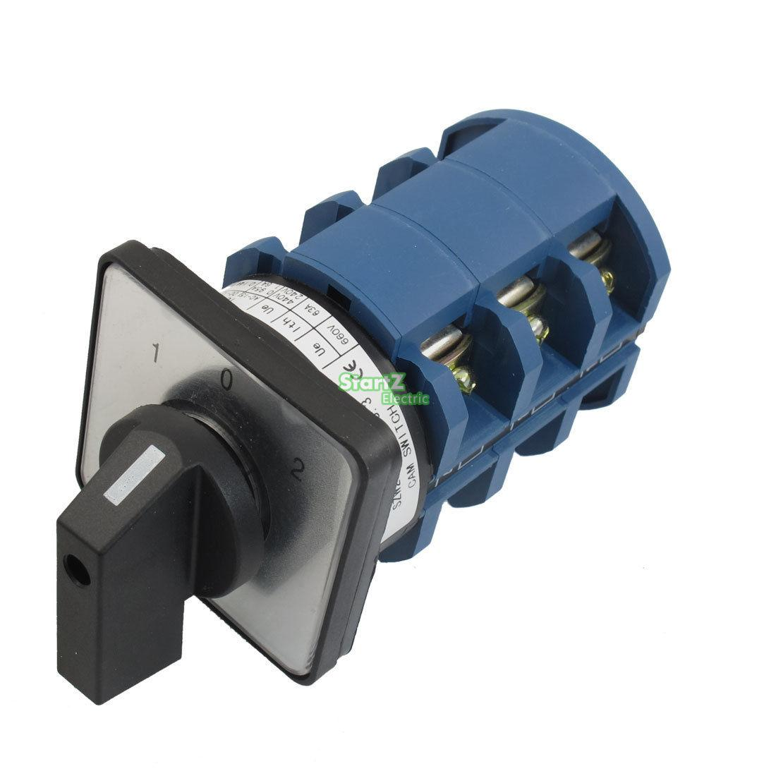 AC 660V 63A 12 Terminals 3 Positions Latching Rotary Cam Changeover Switch<br>