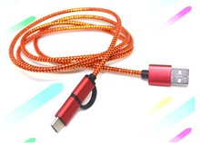 2A 1M/3FT 2 in 1 Quick Micro USB+Type-C Braided Sync Charger Cable For Android Type C Smartphone Tablet Google Nexus 5X 6P Lot G