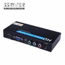 SSRIVER VGA / Component YPbPr to HDMI Upscaler HD video Converter Adapter 720p/1080p VGA to HDM Adapter for Game Player laptop