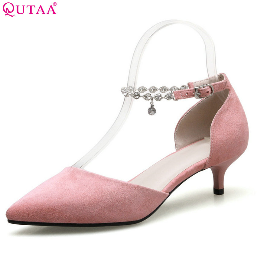 QUTAA 2018 Women Pumps Cow Suede Thin High Heel Women Shoes Pointed Toe All Match Red Buckle Ladies Wedding Pumps Size 34-41<br>